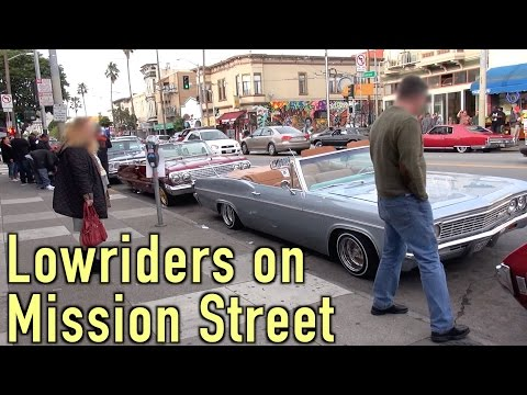 Strolling along Mission Street San Francisco, admiring the lowriders (and other vehicles as well)