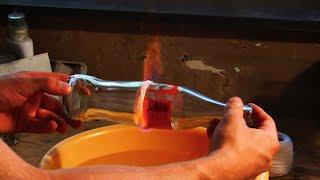 Glas mit Feuer und Wasser schneiden