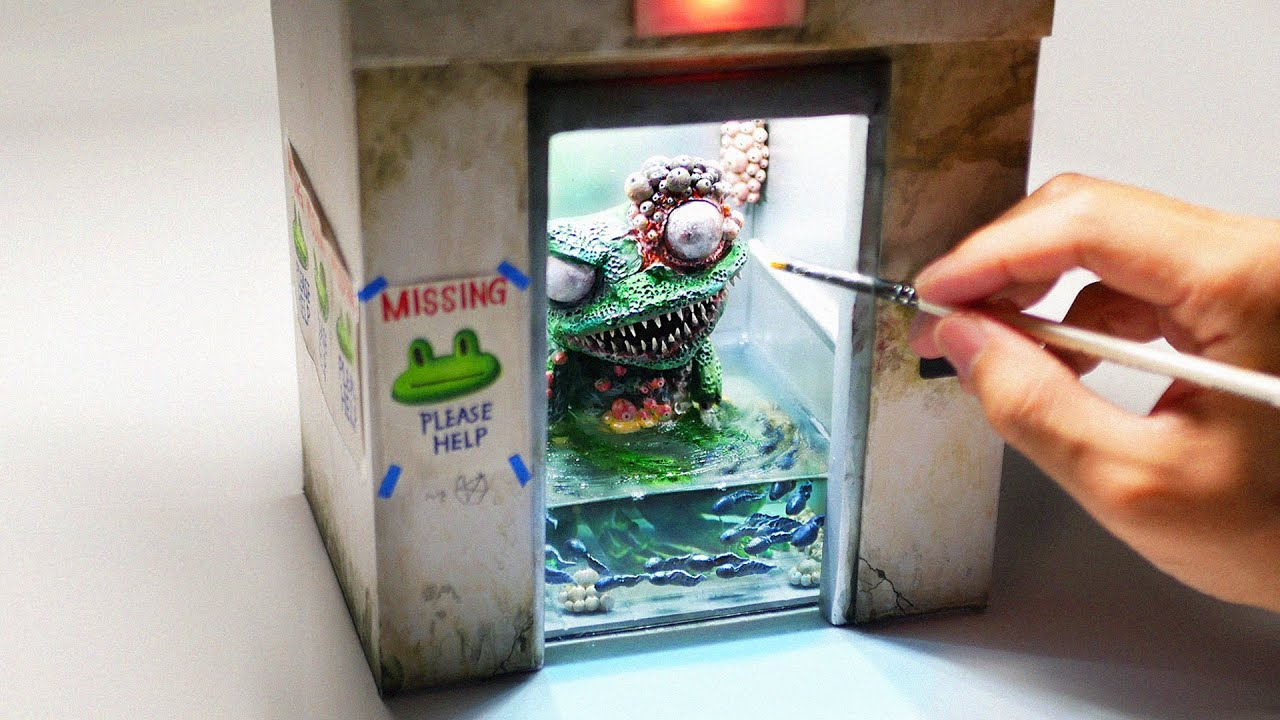 How To Make a Zombie Frog In the Elevator Diorama / Polymer Clay / Epoxy resin