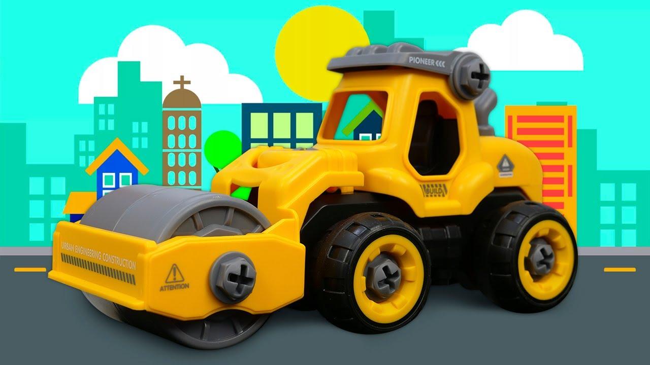 La máquina aplanadora de juguete. Vehículos de construcción. Vídeos de juguetes para niños.