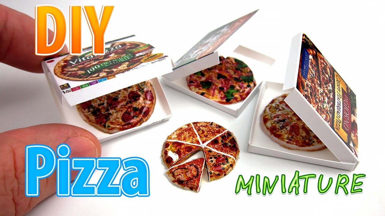 diy miniature pizza with box no polymer clay no need for paint youtube. Black Bedroom Furniture Sets. Home Design Ideas