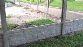 Как сделать бетонный забор своими руками. Показано все нюансы. // Олег Карп(Как построить бетонный забор своими руками. Показал все нюансы процесса и дал информацию по поводу размеро..., 2015-05-12T11:45:01.000Z)