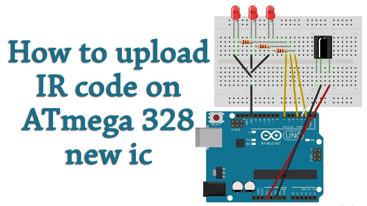 How to upload IR remote code 4 channel led control in ATmega 328