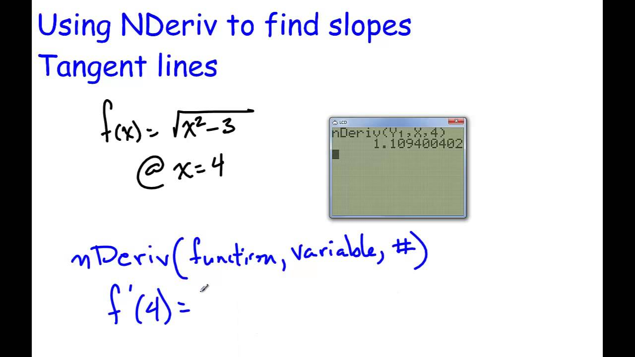 Using Nderiv To Find Slope At A Point