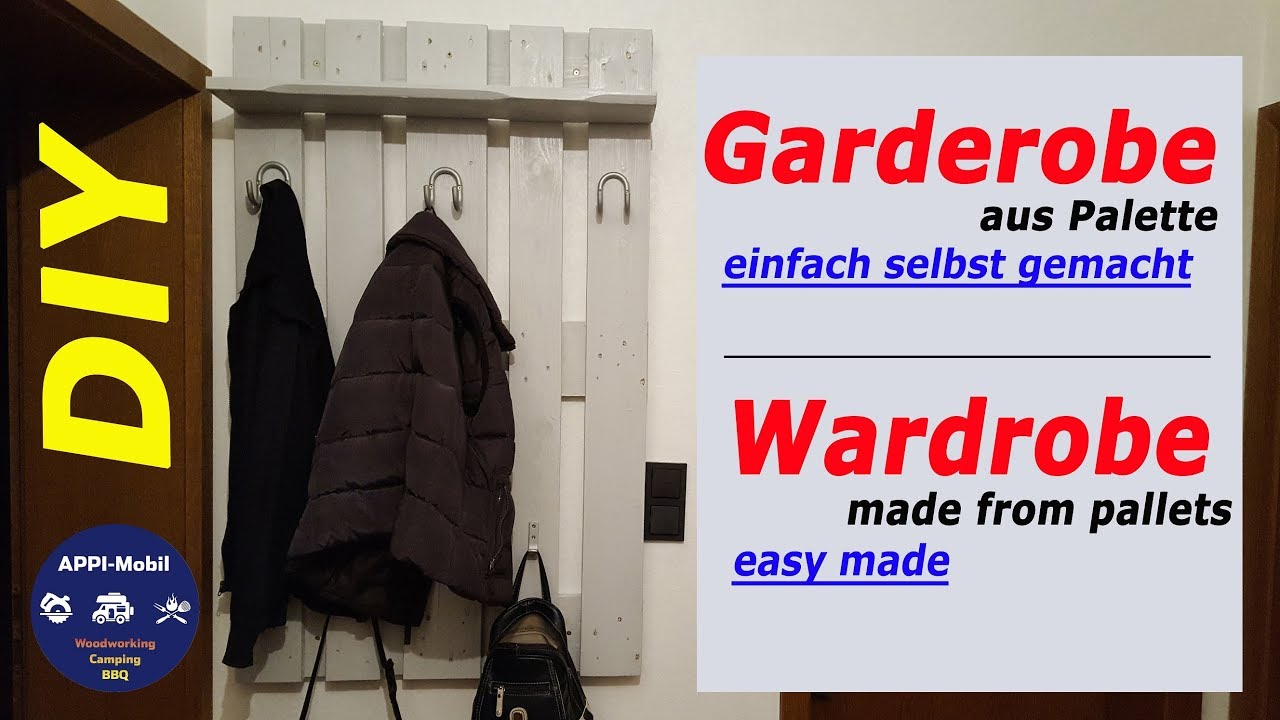 Flurgarderobe Aus Paletten Garderobe Aus Paletten Diy Einfach Selber Machen I Wardrobe Made From Pallets Easy Made