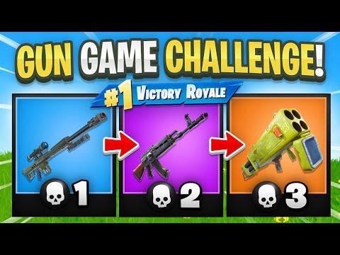 GUN GAME CHALLENGE in Fortnite Battle Royale