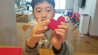 (9살 심우현) 날아라 하트♡ 날개달린 하트 종이접기