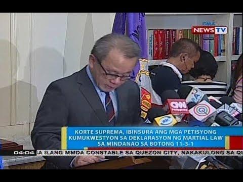 BP: SC, ibinasura ang mga petisyong kumukwestyon sa Mindanao Martial law sa botong 11-3-1