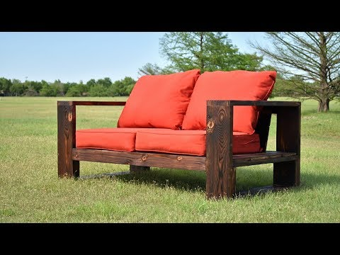 DIY Modern Outdoor Sofa -  Shou Sugi Ban | Limited Tools | Free Plans