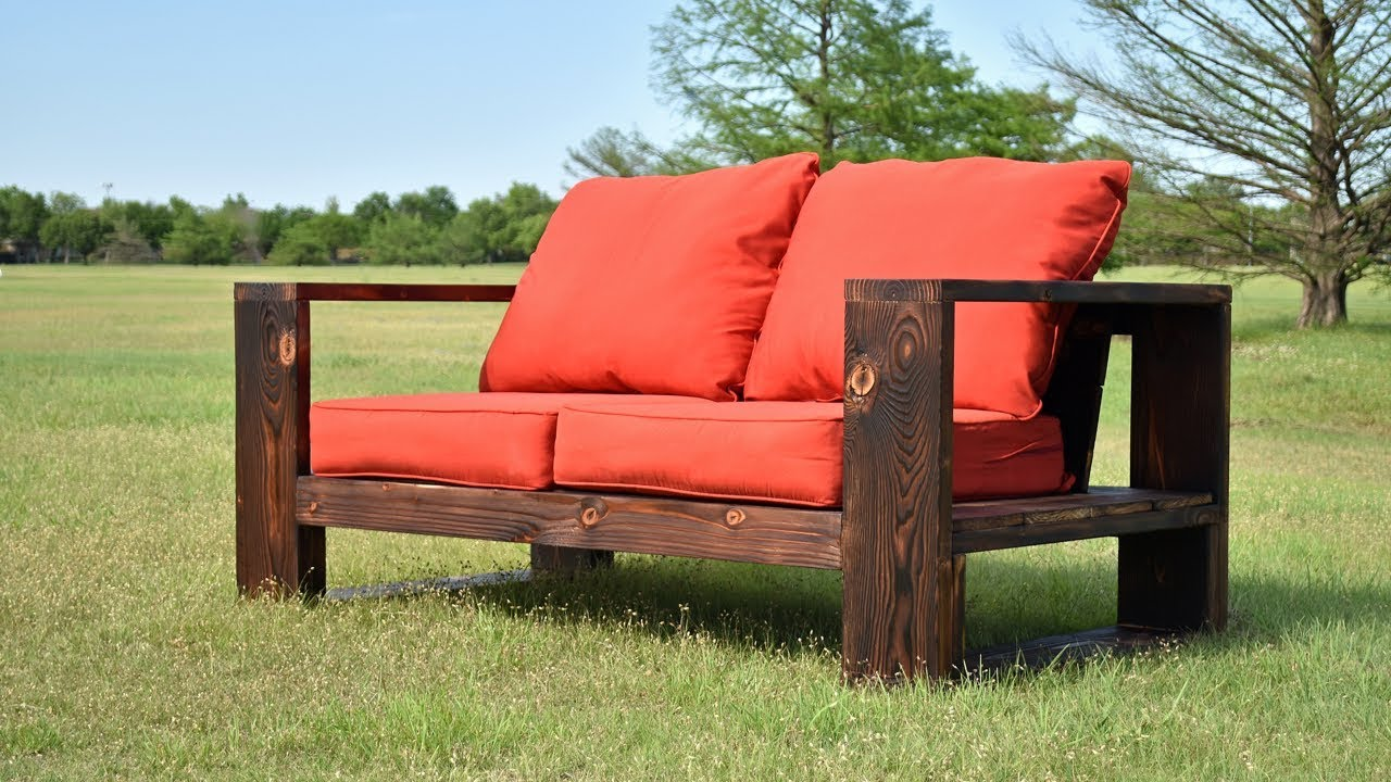 DIY Modern Outdoor Sofa   Shou Sugi Ban | Limited Tools | Free Plans