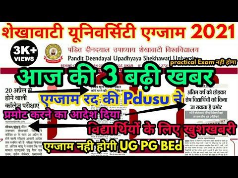Shekhawati University Exam 2021 Promote News PDUSU Exam 2021 Big Update Today || UG PG BEd Exam 2021