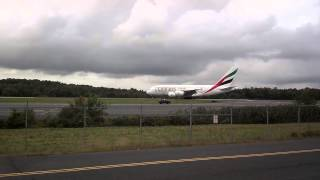 Emirates Airbus A380 Departs Bradley International Airport on Sept. 21, 2014