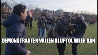 Relschoppers vallen Slijptol aan op demonstratie Museumplein