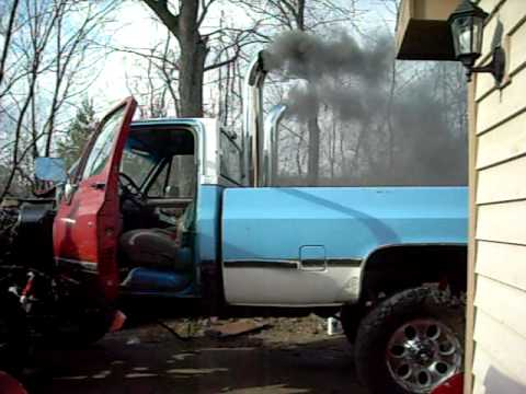 82 Chevy Cummins Swap First Time Fire Up Since Swap Youtube