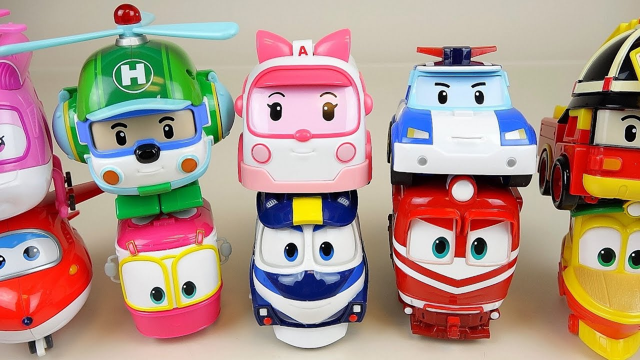 Robocar poli and robot trains super wings transformers car toys