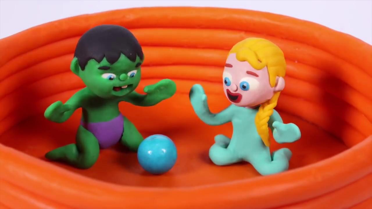 FROZEN ELSA NEW DRESS ❤ Spiderman, Hulk & Frozen Elsa Play Doh Cartoons For Kids