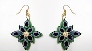 Flower model quilling earrings made easy  - Quilling earrings making
