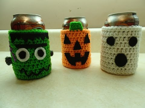 CROCHET How to #Crochet Easy Halloween Can Cup Holder Cozy  #TUTORIAL #265 supersaver DYI