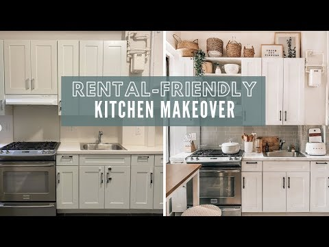 RENTAL-FRIENDLY KITCHEN APARTMENT MAKEOVER | DIY Faux Marble Countertop + Peel and Stick Tile