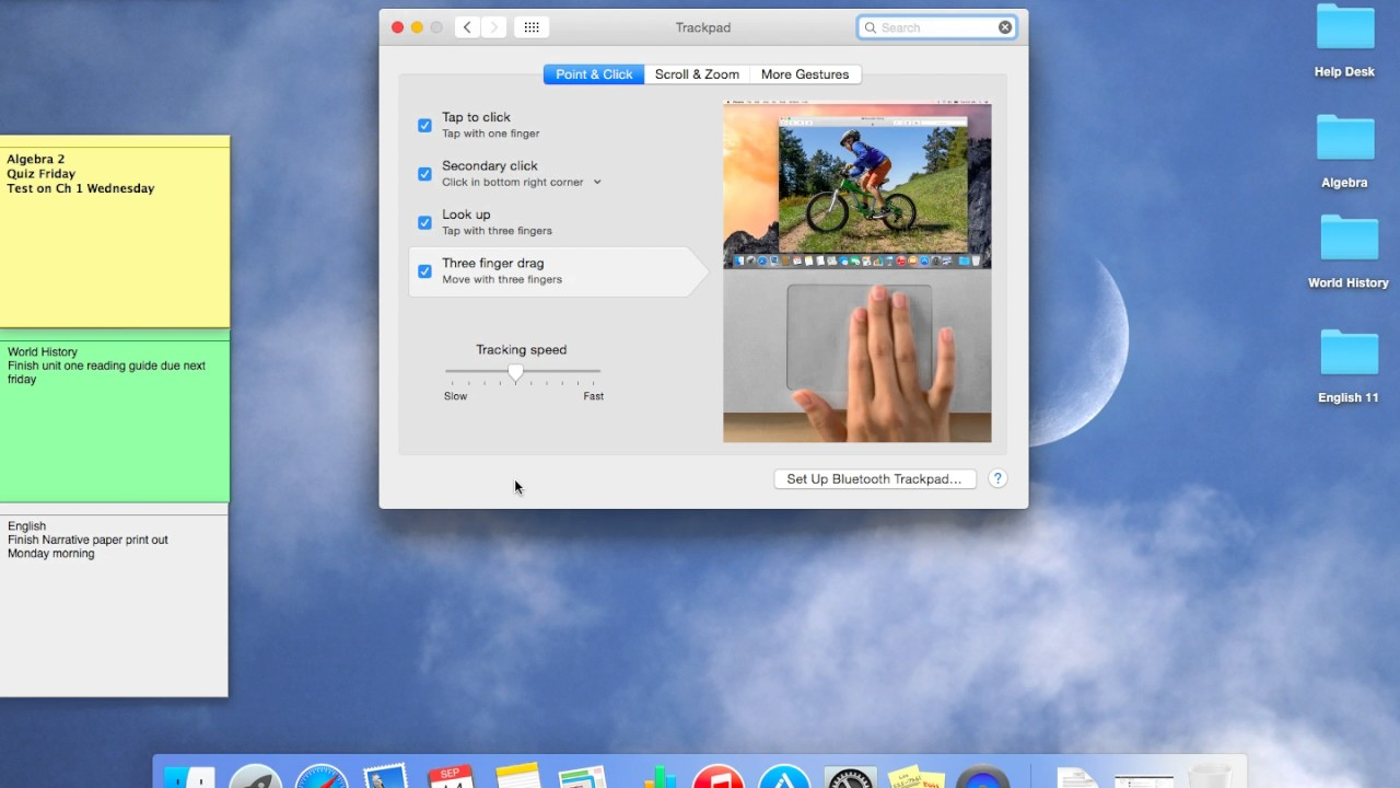 how to change trackpad settings