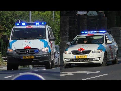 3x Véhicules De La Police Grand-Ducale Luxembourg En Urgence En De La Ville De Luxembourg