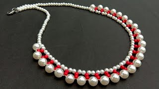 How To Make//Pearl Necklace//At Home//Diy Necklace// Useful & Easy