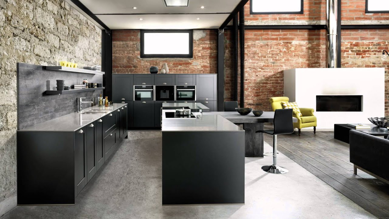 cuisine quip e style industriel avec lot central coloris gris ilot tr sor schmidt youtube. Black Bedroom Furniture Sets. Home Design Ideas