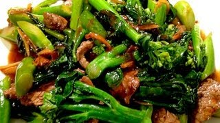 Stir Fry Chinese Broccoli with Flank Steak/Beef 芥蘭炒牛肉