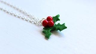 Diy: Holly (mistletoe) Necklace Polymer Clay Tutorial