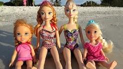 BEACH - Elsa & Anna toddlers -  Vacation Sunbathe - Seagulls - Sand Play
