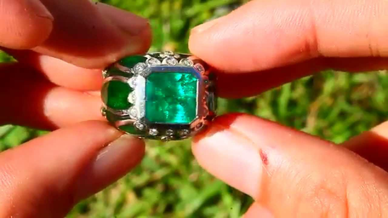 Opal Emerald Engagement Ring