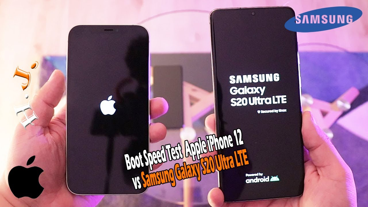 Boot Speed Test Apple iPhone 12 vs Samsung Galaxy S20 Ultra LTE Amazing Result!!