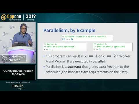"CppCon 2019: Eric Niebler, David Hollman ""A Unifying Abstraction For Async In C++"""