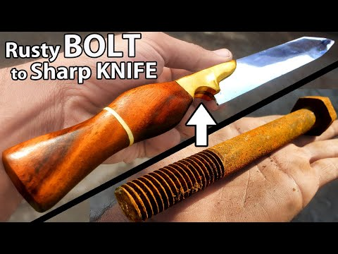 Turning A Rusty BOLT Into A Really SHARP Chef KNIFE