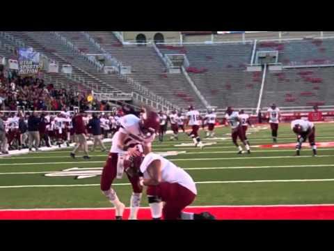 5A football championship: Kaden Strasters (Herriman Mustangs) scores the game winning touchdown.