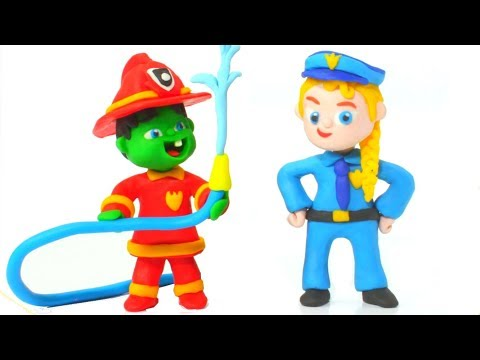 Superhero Babies Learning Professions ❤ Hulk & Frozen Elsa Play Doh Cartoons & Stop Motion Movies