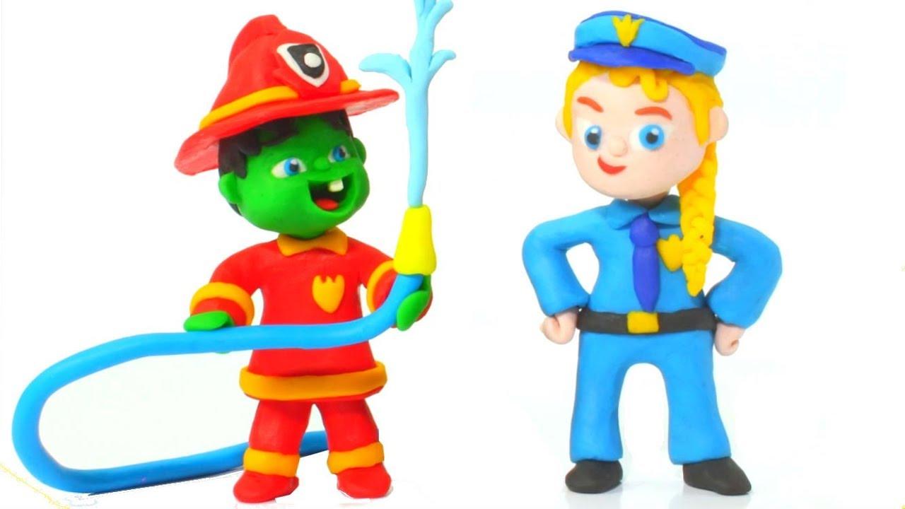 Superhero Babies Learning Professions ❤ Hulk & Frozen Elsa Play Doh Cartoons & Stop Motion M