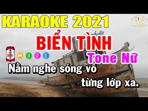 Biển Tình Karaoke Tone Nữ Nhạc Sống 2021   Trọng Hiếu