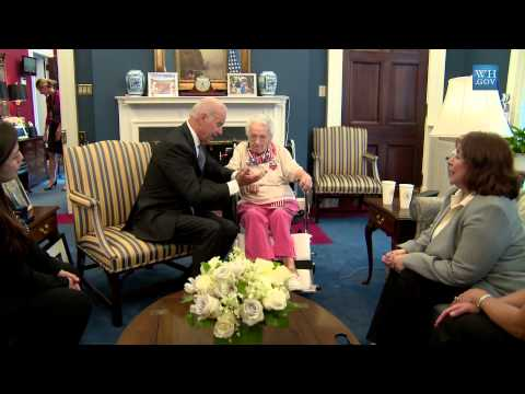 Smile As Oldest Living Female Veteran Meets VP & President