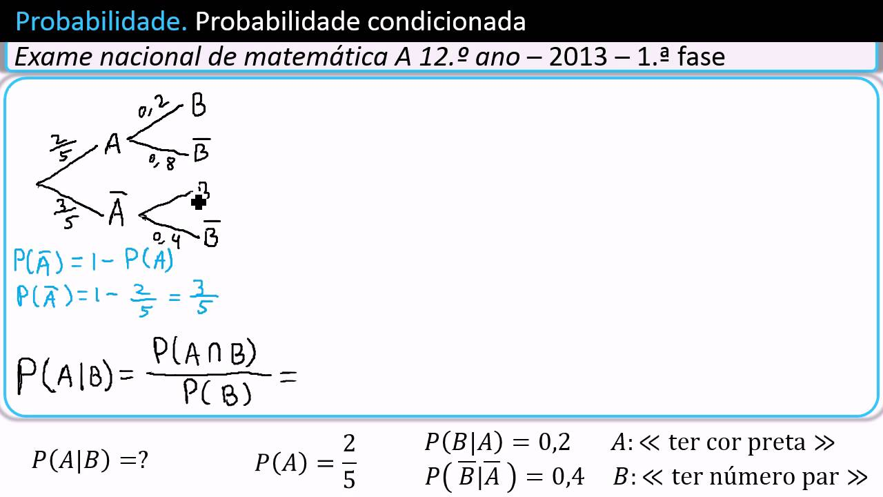 Probabilidade condicionada ou condicional diagrama em rvore youtube ccuart Choice Image