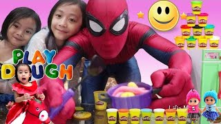 Kids Pretend Play Cooking Play doh with Spiderman Elena Anna Elsa Toy Kids Kitchen