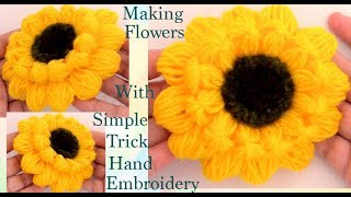 Haz flores girasoles con un pequeño truco Hand Embroidery Making flowers with very simple trick