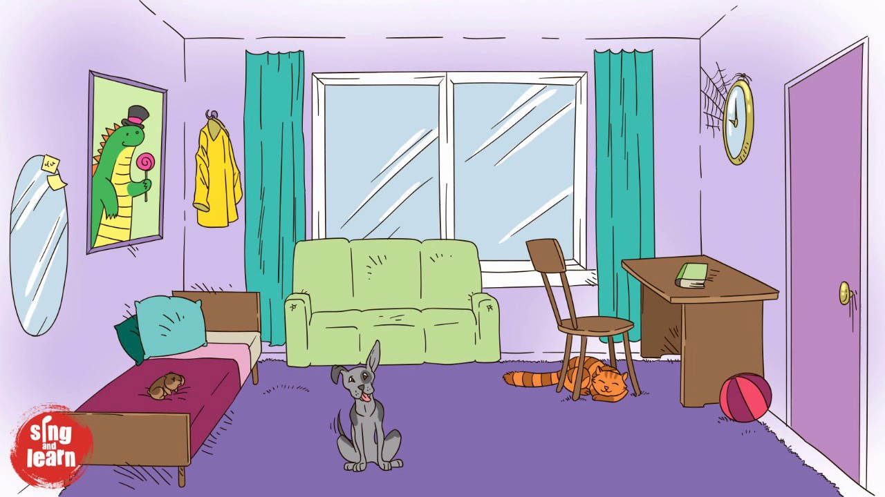 My room vocabulary song in English for kids. Furniture ...