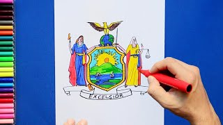 How to draw and color the State Flag / Coat of Arms of New York