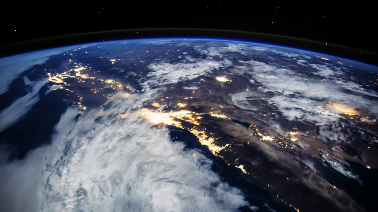 Earth from Space - Ocean Moon Glint and City Night Lights ...