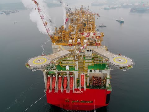 Shell's Prelude Floating Liquefied Natural Gas (FLNG) facility starts its journey to Australia