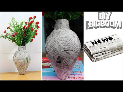 How to make Flower Vase with Newspaper step by step | 2018 | DBB