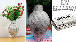 How to make Flower Vase with Newspaper step by step   2018   DBB
