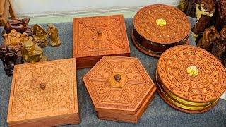 Những mẫu hộp đựng bánh kẹo mứt Tết bằng gỗ hương đẹp nhất 2021| Tượng gỗ đẹp phúc tấn
