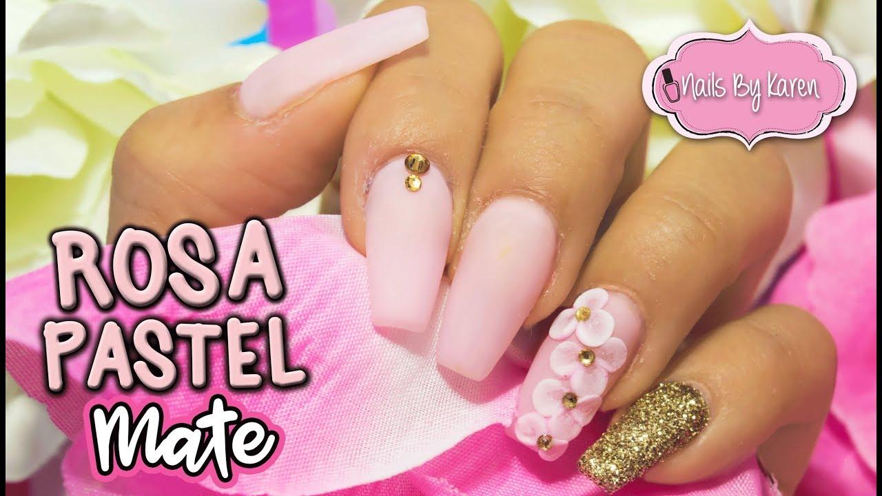 Uñas Rosa Pastel Mate Flor 3d